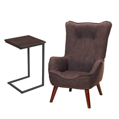 【セット買い】脚付き座椅子 なごみハイバックチェア NHBC-BR + サイドテーブル(小) GST3030-BR
