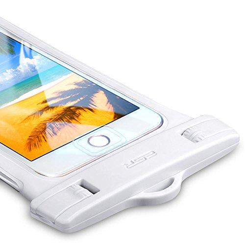 ESR 防水ケース [IPX8認定 指紋認証] 完全密封 スマホ用 防水携帯ケース タッチ操作可能 対応機種: iPhone X/8/8 plus 7/7plus/6s/6/6plus, Samsung, Huawei, Sony その他6インチ以下全機種対応 水中撮影 お風呂 海水浴 潜水 水泳 砂浜 水遊びなどに最適(ホワイト)