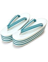[ 京都きもの町 ] 七枚芯 草履単品 白×ブルー フリー Lサイズ 成人式 結婚式の振袖に 振袖草履 卒業式の袴に