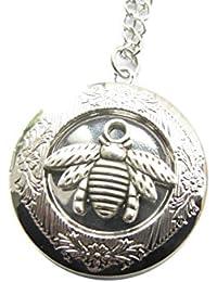 Beeネックレス、Honeyネックレス、Honey Beeロケット、Honey、Bumble Beeネックレス、古代シルバーロケットネックレス