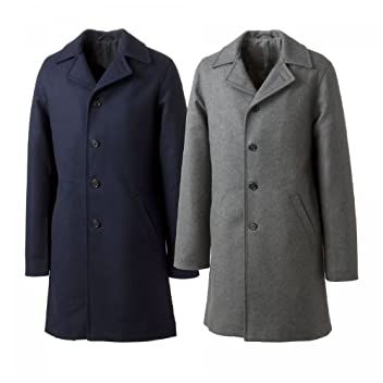 Valstar Melton Wool Balmacaan Coat: Navy, Grey
