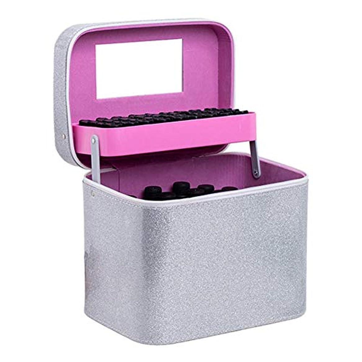 レコーダーテキスト朝ごはんエッセンシャルオイル収納バッグ、二重層、多機能、収納ボックス、ミラー付き、ポータブル、ポータブル