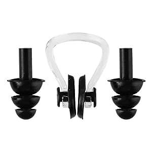 スイムグッズ 耳栓・鼻栓セット ケース付 スイミングに 医療レベルソフトシリコン使用 ブラック