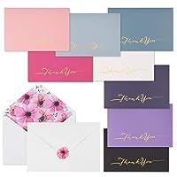 iLovepaper サンキューカードボックス 48枚入り グリーティングカード ベビーシャワー/誕生日/卒業/結婚式に最適 6色 封筒とステッカー付き