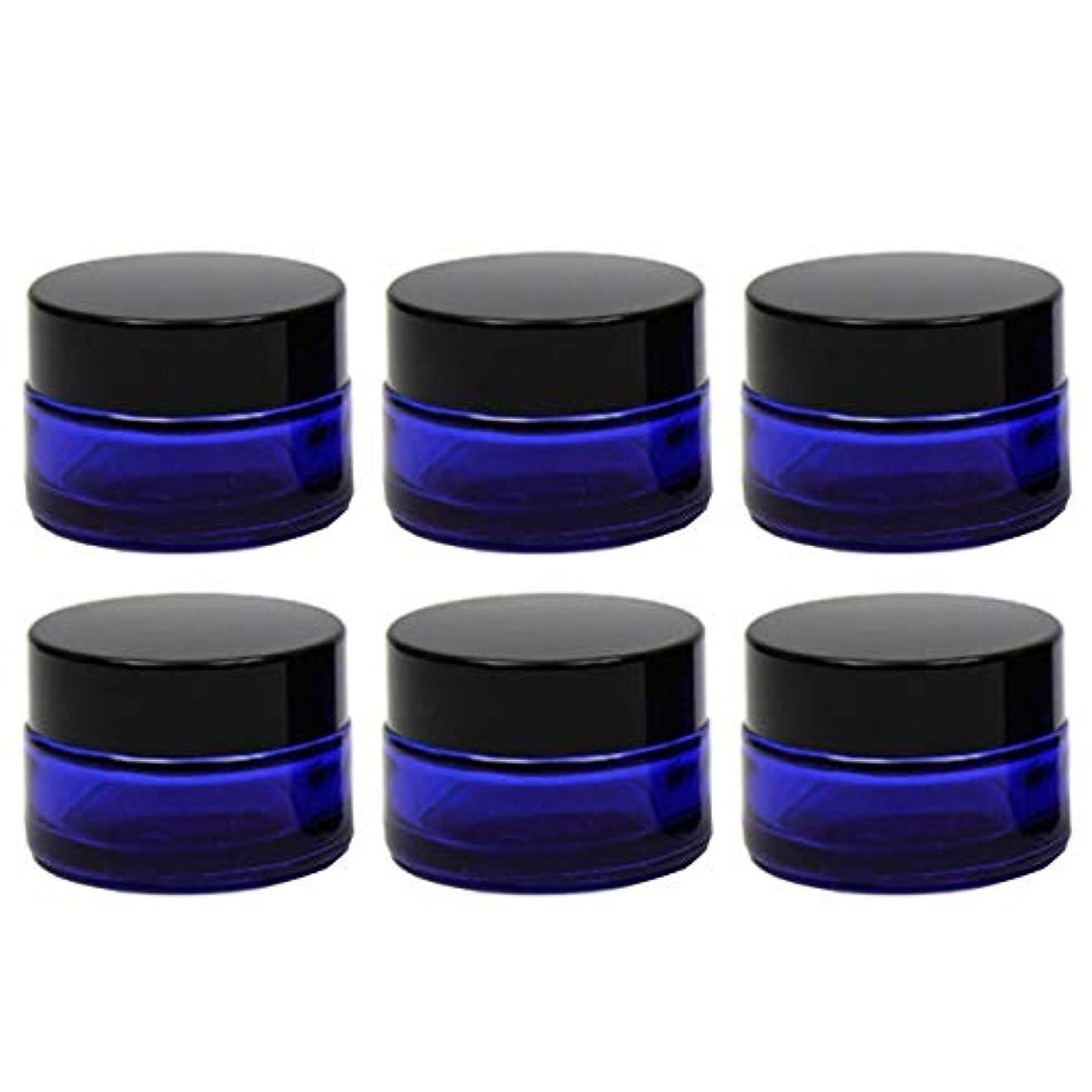藤色建築家フレットクリーム容器 遮光ジャー 6個セット アロマクリーム ハンドクリーム 遮光瓶 ガラス 瓶 アロマ ボトル ビン 保存 詰替え 青色 ブルー (20g?6個)