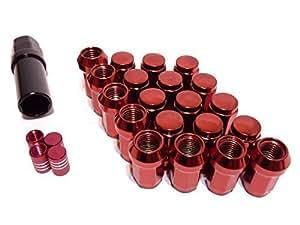 盗難防止に ロックナット 外七角 M12*P1.5 赤 袋タイプ 20個入り 4穴/5穴用 アクセサリーセット (レッド, M12*P1.5)