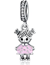 Little Girl Charm Pink Enamel CZ Dangle Charms fit Pandora Bracelet Necklaces Jewelry Birthday Gifts