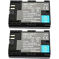 [WELLSKY] [ 2個セット ] CANON キヤノン LP-E6 / LP-E6N 互換バッテリー [ 純正品と同じよう使用可能 純正充電器で充電可能 残量表示可能 ] イオス EOS 70D / EOS 7D MarkII / EOS 6D / EOS 6D Mark II / EOS 5D MarkII / EOS 60D / EOS 7D / EOS 5D MarkIII / EOS 5D Mark IV / EOS 60Da / EOS 70D/ EOS 5Ds / EOS 5Ds R / EOS 80D / EOS R / BG-E6 / BG-E7 / BG-E9 / BG-E11 / BG-E13 / BG-E14 / BG-E16 / BG-E18 / BG-E20 / BG-E21 / BG-E22 / BG-E20