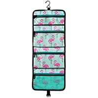 Pink-Flamingo Hanging Toiletry Bag: Organize Your Toiletries / Cosmetics Into 4 Pockets (3 Waterproof and 1 Mesh). Save Time and Space. Pack it Fold it Click the Buckle and Enjoy Your Travel!