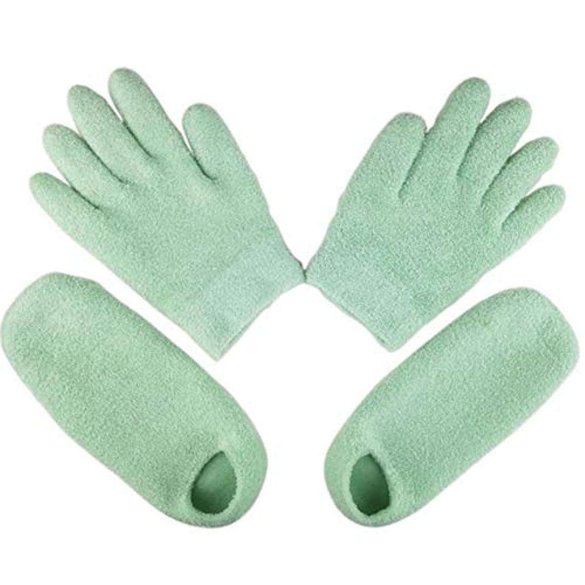 鎮静剤ぴかぴかアスペクトTerGOOSE 美容 保湿 手袋 ゲル 靴下 モイスチャライジングジェルグローブ 手荒れ対策 保湿ケア フット ハンドケア用 高保湿 便利 グリーン