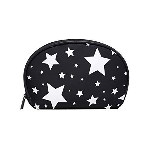 VAWA 化粧ポーチ 星柄 大容量 かわいい メイクポーチ 化粧バッグ 機能的 仕切り 防水 化粧品収納 小物入れ 洗面 旅行用 スター 黒