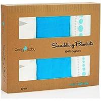 100 % Organic Swaddle Blankets | Softest通気性竹モスリン|新生児またはToddlers |ユニセックスデザインfor BoyまたはA Girl | Hugh 47 x 47インチ| rocababy Bestベビーシャワーギフト – 3パック