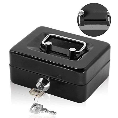Jssmst 手提金庫 キーロック式 キャッシュボックス 貯金箱 金属製 ミニサイズ 軽量 子供 1...