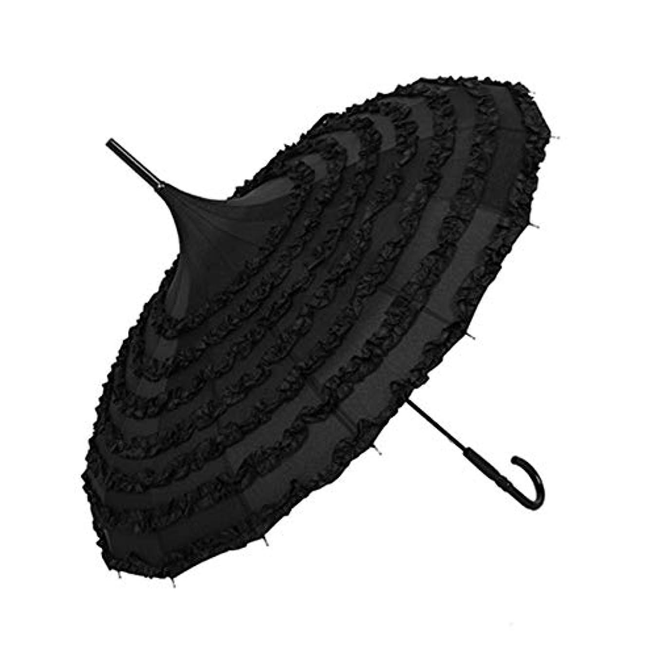 チャネル上回る普通のChuangshengnet 傘レース傘傘レースロング傘 (Color : All black)