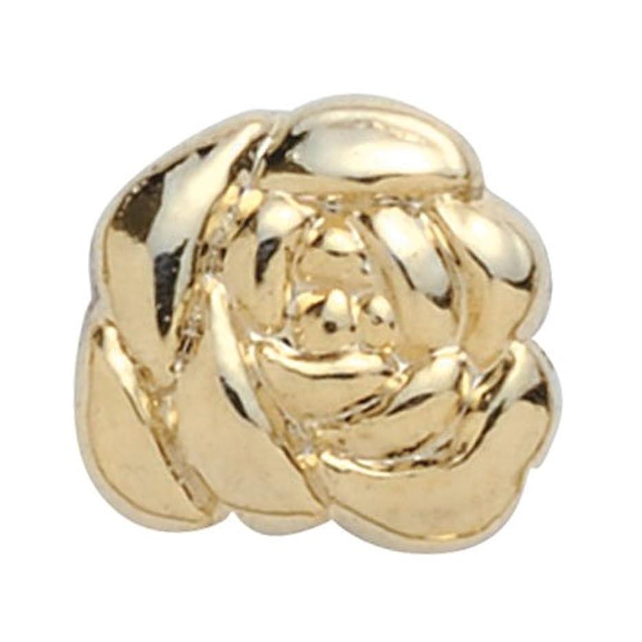 アヒル追加する電圧プリティーネイル ネイルアートパーツ キューティーローズ ゴールド 3個