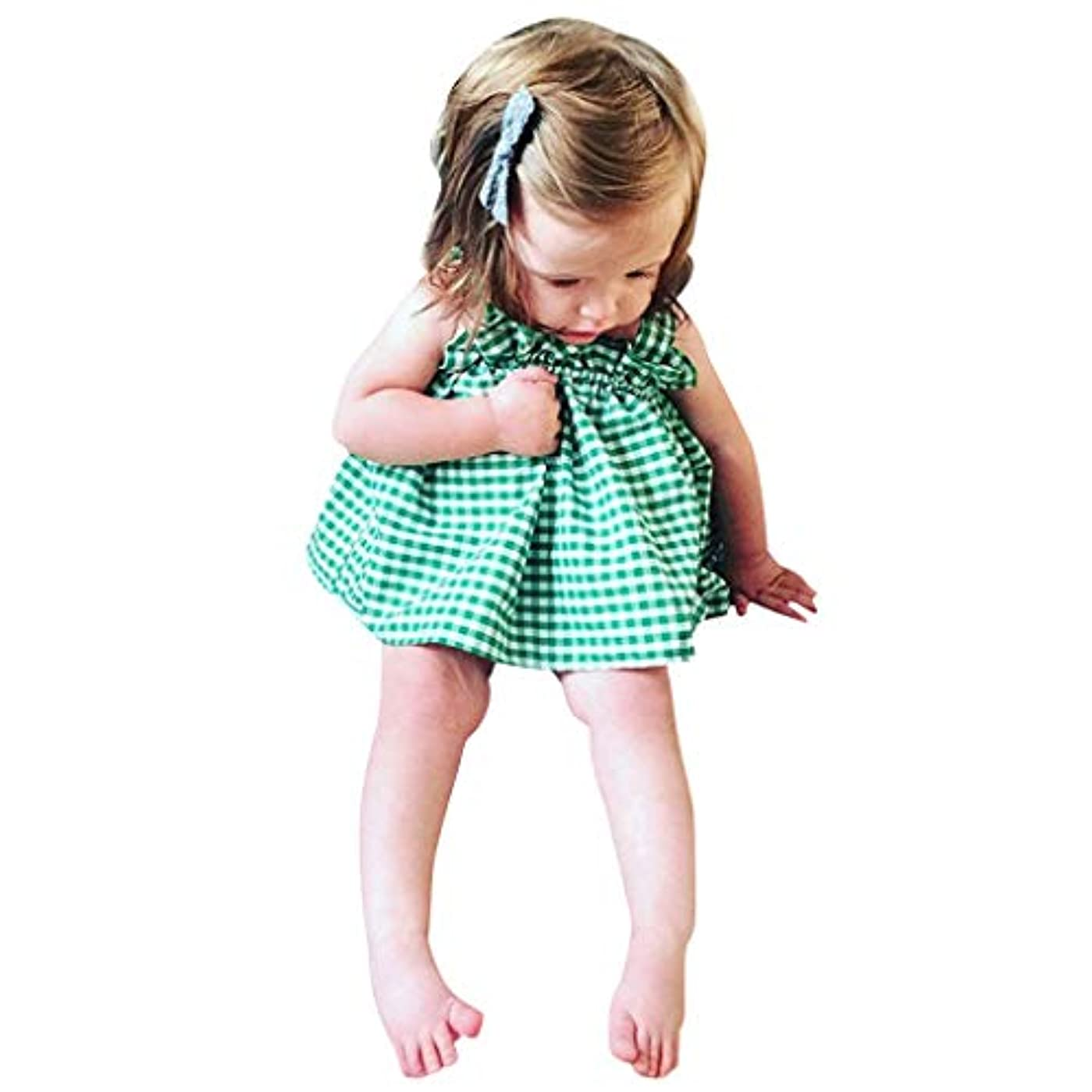 保護手伝う戦艦キッズ服 Jopinica 6ヶ月~2歳 夏グリーンチェック柄サスペンダートップス?ブリーフセット お嬢様の記念日 子供の日ファッション女の子 ガールズ2点セット