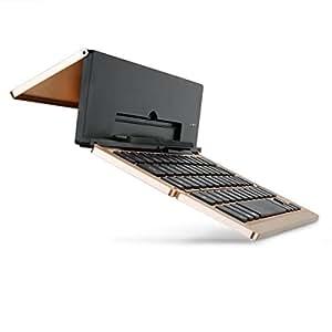 iEGrow iPadキーボード 軽量 折り畳み カバー ipad mini1/2/3/4 ipad air/air2 (ゴールド)