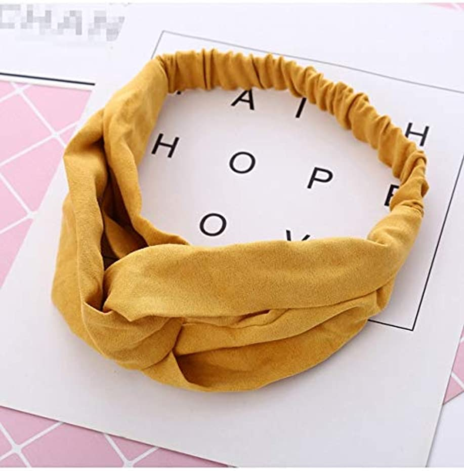 メッシュビタミン相互接続Hairpinheair YHM 2ピース女性スエードヘッドバンドヴィンテージクロスノット弾性ヘアバンドソフトソリッドヘアアクセサリー(イエロー) (色 : 黄)