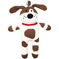 Zubels 100% Hand-Knit Mr. Woofers the Spotted Dog Rattle Toy All Natural Fibers [並行輸入品]
