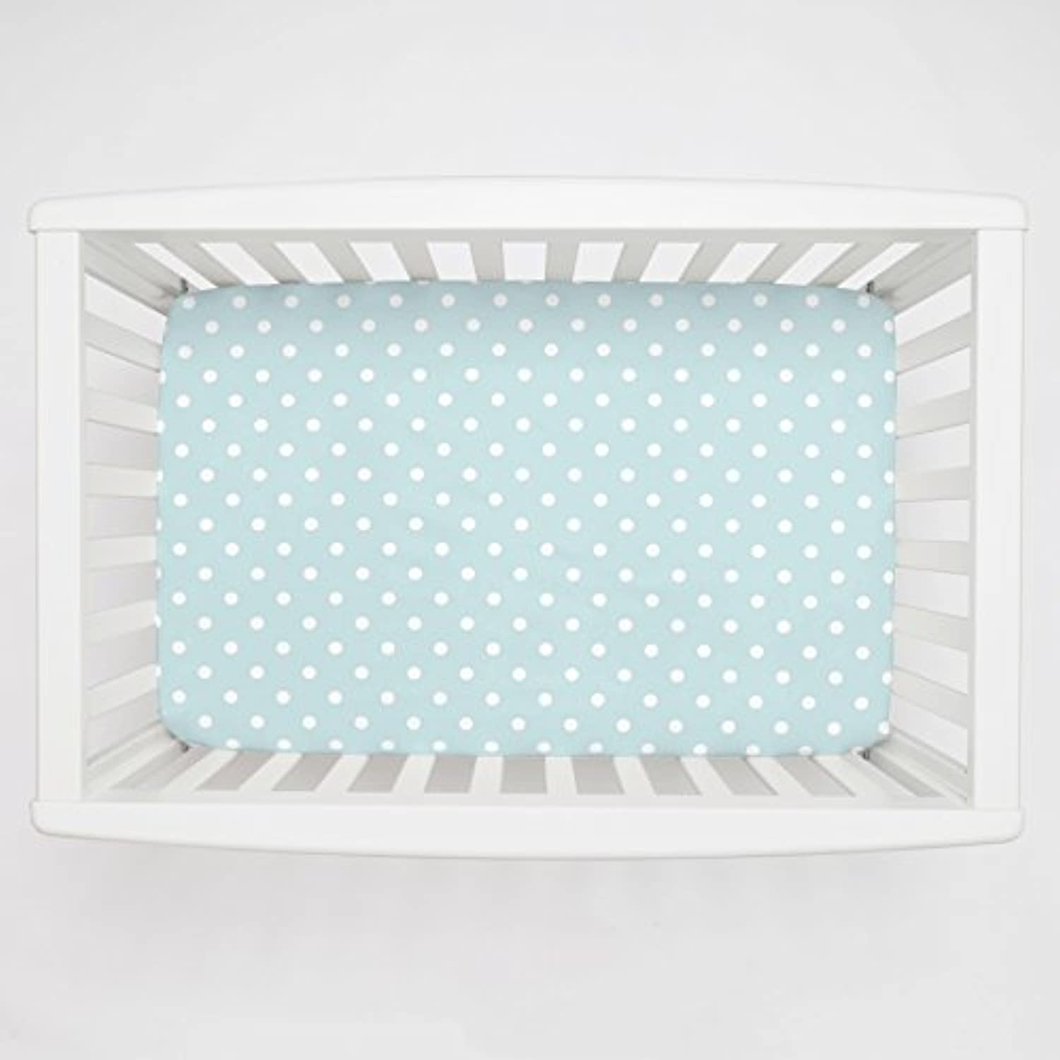 Carousel Designs Mist and White Polka Dot Mini Crib Sheet 5-Inch-6-Inch Depth by Carousel Designs