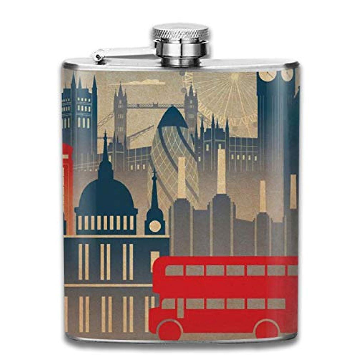 ベアリングうんざり焦がすロンドン ポスター フラスコ スキットル ヒップフラスコ 7オンス 206ml 高品質ステンレス製 ウイスキー アルコール 清酒 携帯 ボトル