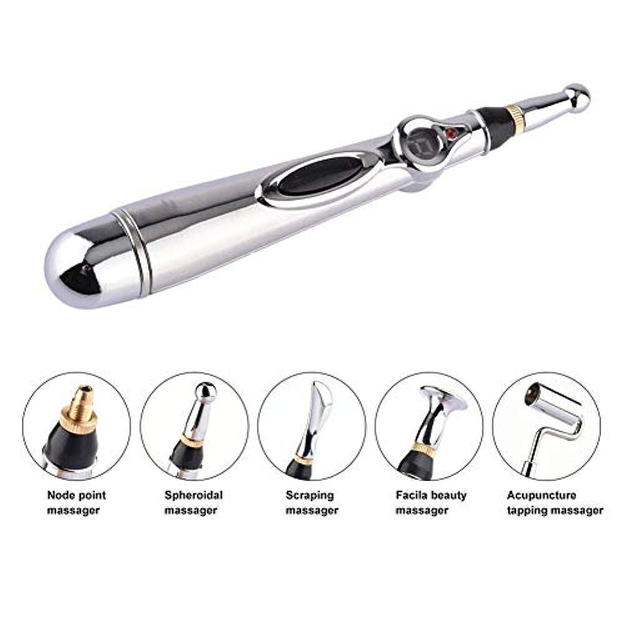感嘆クラシック事業5-in-1電子鍼ペンMeridian Energy Pen Massager 5マッサージヘッド指圧マッサージで体の痛みを軽減