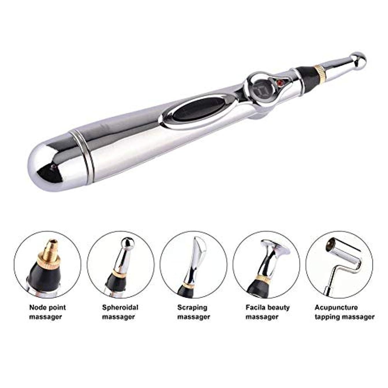 集団的相手優雅5-in-1電子鍼ペンMeridian Energy Pen Massager 5マッサージヘッド指圧マッサージで体の痛みを軽減