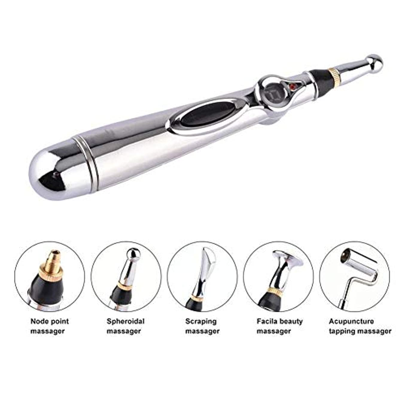 おじさん恩赦登場5-in-1電子鍼ペンMeridian Energy Pen Massager 5マッサージヘッド指圧マッサージで体の痛みを軽減