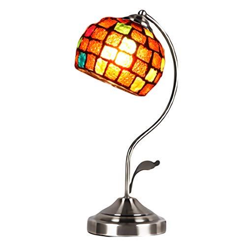 デスクライト スタンドライト 照明 アンティーク モザイクランプ ベッドサイド ランプシェード ルームランプ インテリア プレゼント (A1・テラコッタレッド)