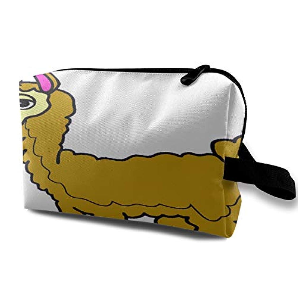 座るタック想起Cute Funny Llama 収納ポーチ 化粧ポーチ 大容量 軽量 耐久性 ハンドル付持ち運び便利。入れ 自宅?出張?旅行?アウトドア撮影などに対応。メンズ レディース トラベルグッズ