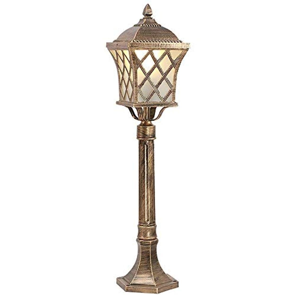 小さなキー赤字Pinjeer E27ヴィンテージガラスランプシェード街路灯ライトヨーロッパアンティーク屋外ip65防水高ポールガーデンポストライトパスヤードコミュニティ芝生照明コラムランプ (Color : Brass, サイズ : Height 1.1m)
