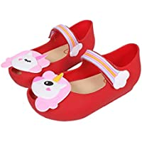 TANDEFLY Girls Mary Jane Shiny Unicorn Flat Shoes White Dots Kid's Sandals for Toddler Little Kid