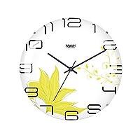 ボーダレス壁掛け時計、丸い時計の寝室サイレント壁掛け時計ポインター時計ガラス張りのリビングルーム装飾壁掛け時計,A,8inches