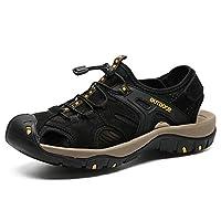 方法実質の革サンダル、夏の人の屋外スポーツの通気性の滑り止めの靴 Black US8EU41UK7.5