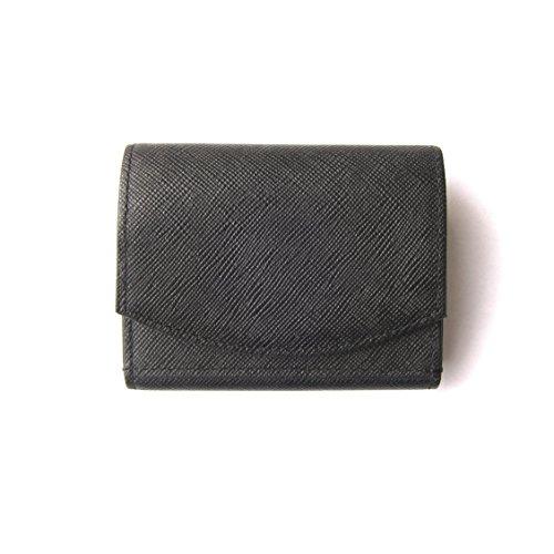 ハンモックウォレットコンパクト メンズ三つ折り財布 圧倒的小銭の取り出しやすさ (Black × Black)