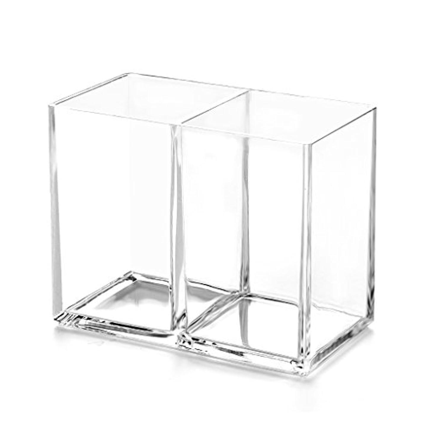 節約する市区町村窒素RiLiKu アクリルメイクブラシ収納ボックス 2段透明ペン立て 卓上文房具収納ボックス
