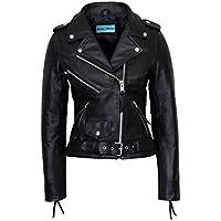 Smart Range Ladies Brando Black Classic Motorcycle Motorbike Genuine Cowhide Leather Jacket