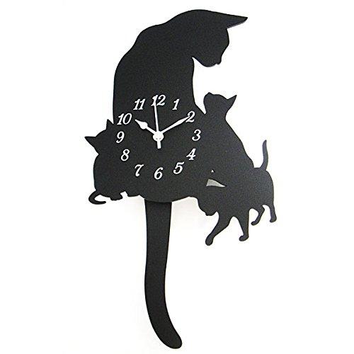 スロー振り子時計 ネコ(ブラック)