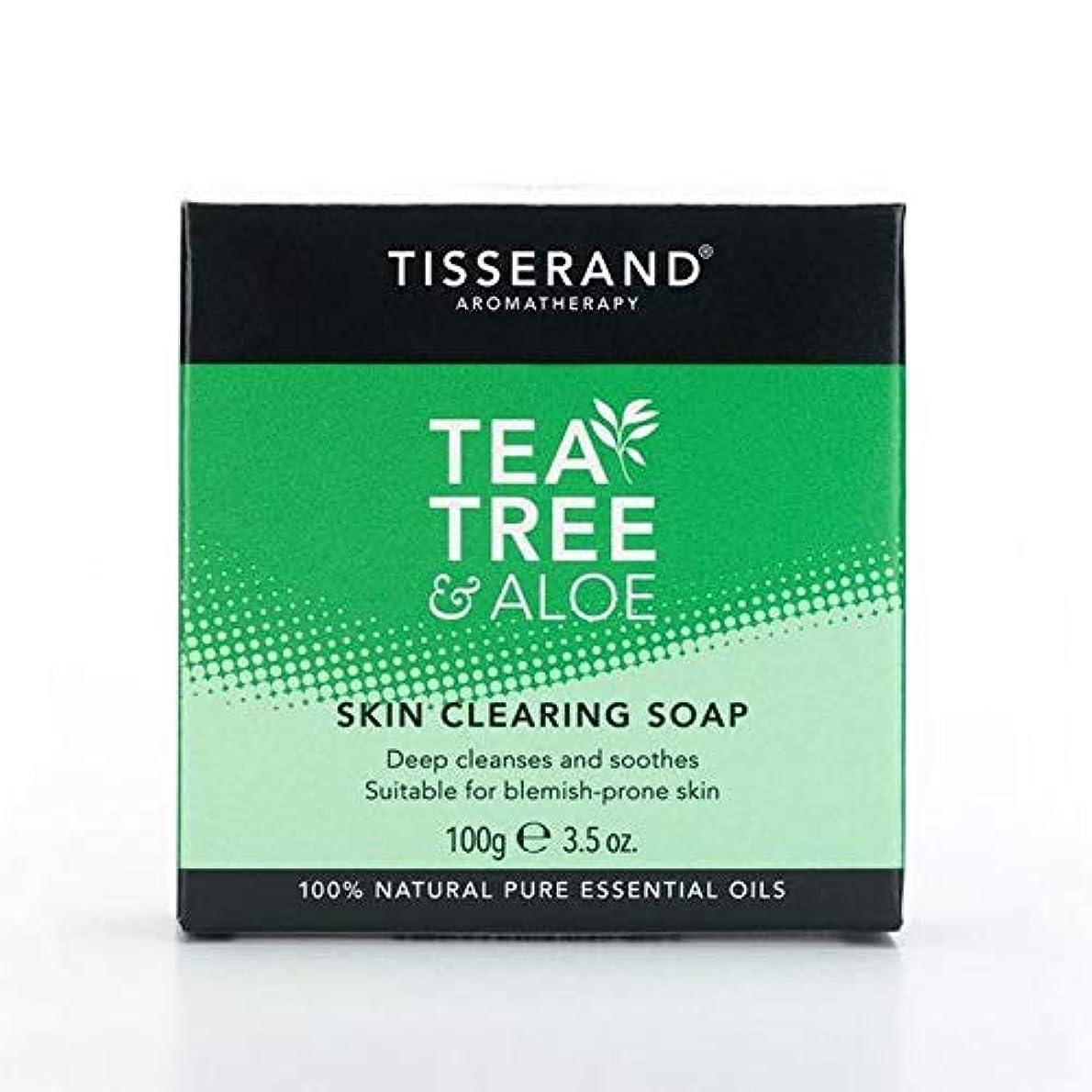 閉じる砂句読点[Tisserand ] 固形石鹸100グラムをクリアティスランドティーツリー&アロエスキン - Tisserand Tea Tree & Aloe Skin Clearing Soap Bar 100g [並行輸入品]