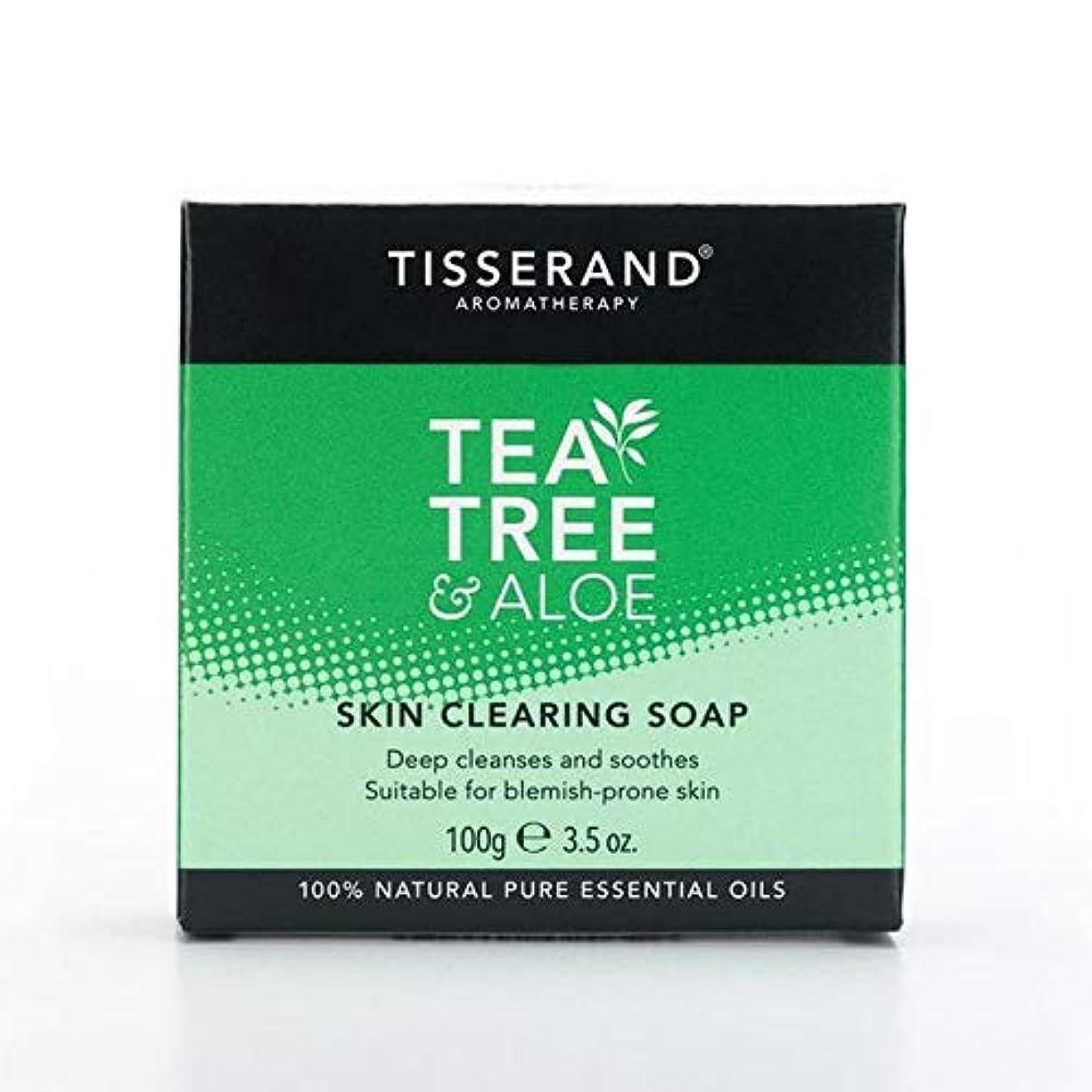 素晴らしい麻痺させる端末[Tisserand ] 固形石鹸100グラムをクリアティスランドティーツリー&アロエスキン - Tisserand Tea Tree & Aloe Skin Clearing Soap Bar 100g [並行輸入品]