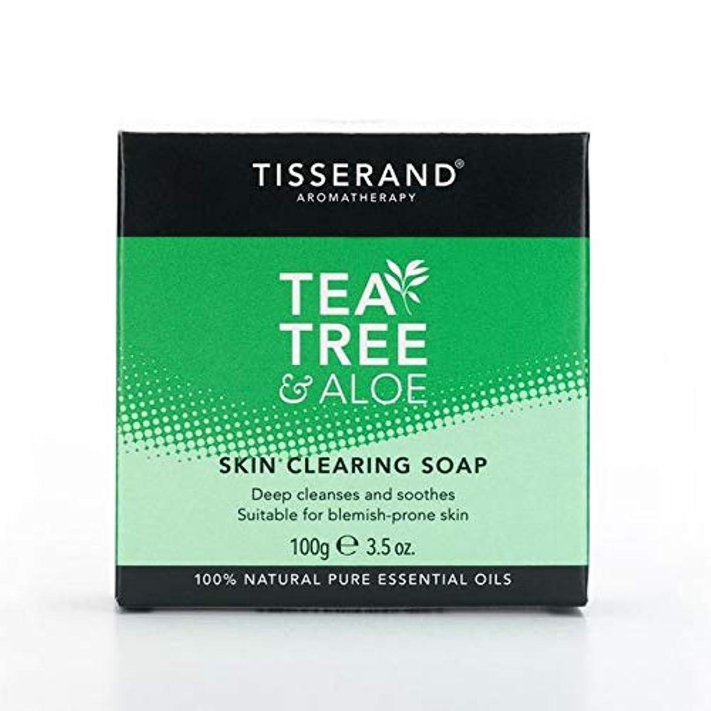 延ばすエッセンス試験[Tisserand ] 固形石鹸100グラムをクリアティスランドティーツリー&アロエスキン - Tisserand Tea Tree & Aloe Skin Clearing Soap Bar 100g [並行輸入品]