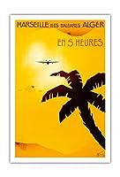 フランス、マルセイユ - Iles Baleares Alger - (バレアレス諸島アルジェ) - 5時間で - ビンテージな航空会社のポスター によって作成された アルベール・ソロン - アートポスター - 76cm x 112cm