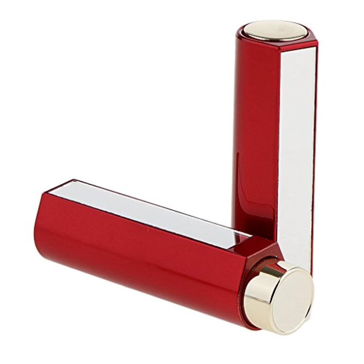 チラチラするドラフト立法Kesoto 2本 空チューブ コスメ用詰替え容器 リップスティック 口紅チューブ 12.1MM口紅チューブ用 リップクリーム DIY メイクアップ 2色選べる - 赤