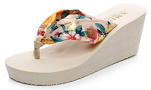 サンダル ビーチファッション女性スリッパビーチサンダル日常着用オフィス 自宅用 室内履き 夏 (22, クリーム)