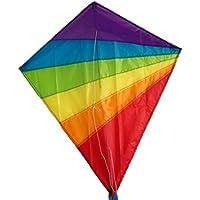 カイト凧ダイヤモンドカラフル虹 微風で揚がる凧 虹カイト60m糸付け