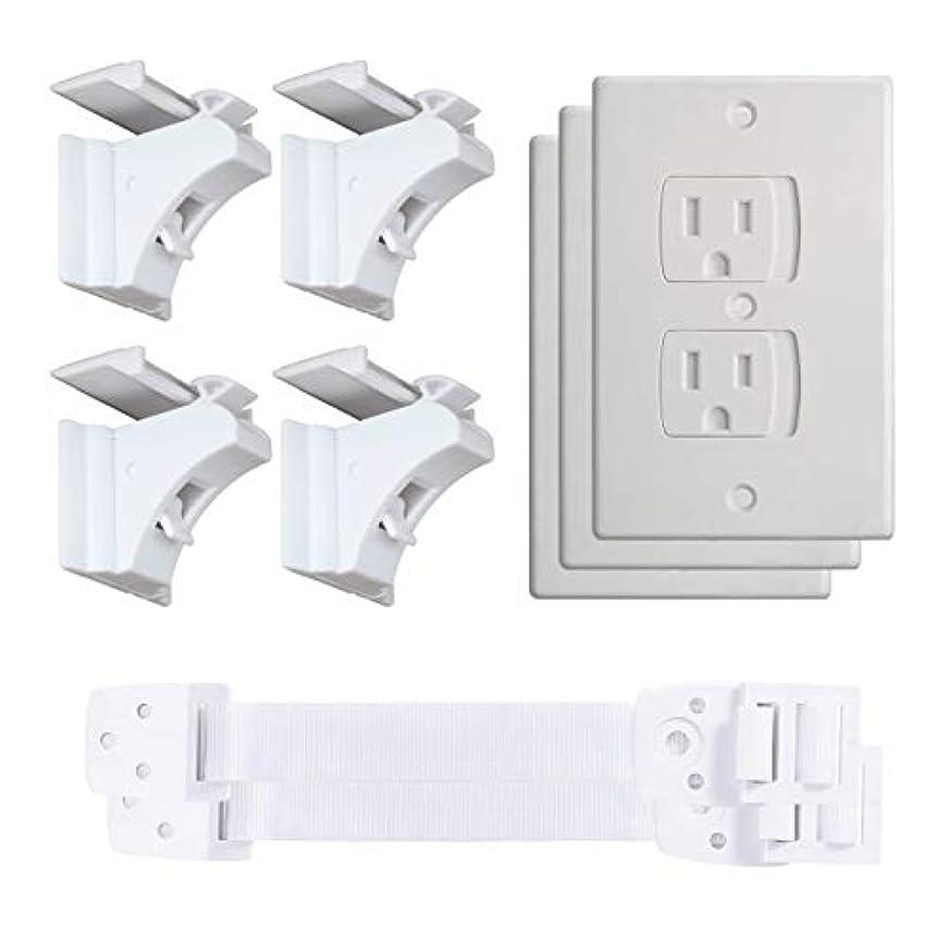 ベビーセーフティーバンドル:磁気キャビネットロック、自動閉鎖コンセントカバー、家具&テレビストラップ S ホワイト