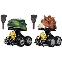 Womdee[2018年アップグレード変形恐竜 Chariot Cars、2パック 恐竜戦士カー おもちゃ、音楽とライト付き 3-14歳の男の子 女の子用 クリエイティブギフト 子供用