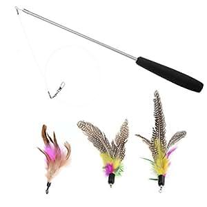 Austrake 猫じゃらし 羽のおもちゃ 伸び縮みできる じゃれ猫 釣り竿