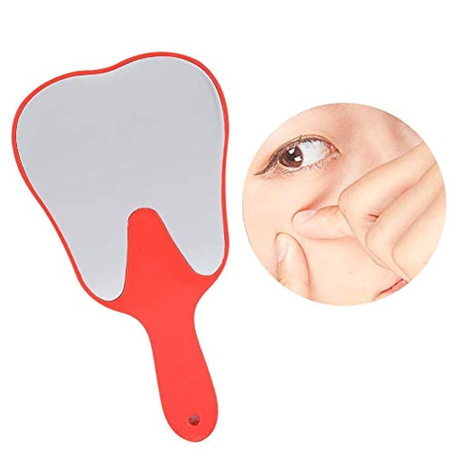 リットル発音する対立おしゃれな便利なかわいいプラスチックハンドル歯歯科ケアハンドミラーツール(赤い)