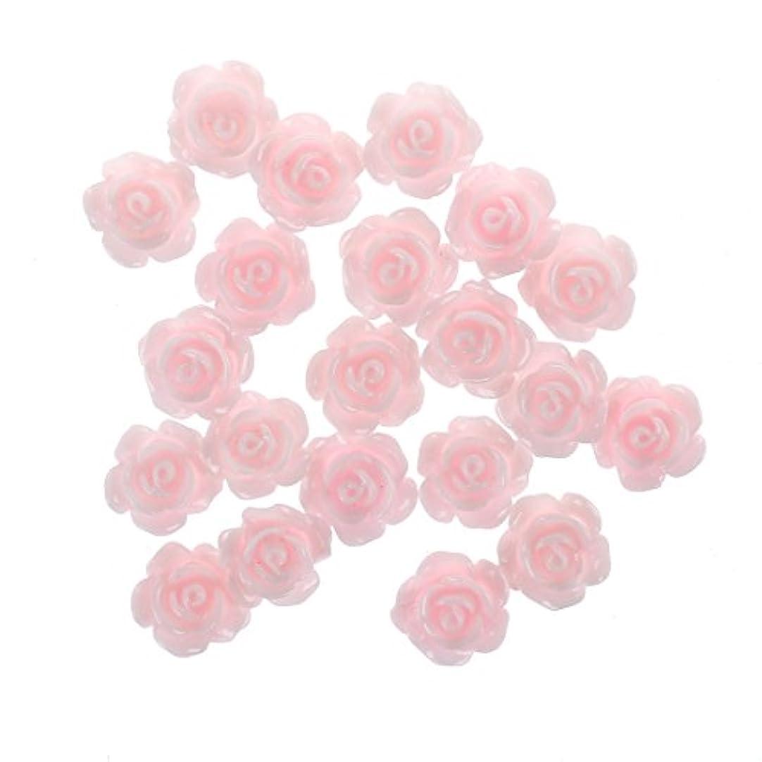 Nrpfell 20x3Dピンクの小さいバラ ラインストーン付きネイルアート装飾